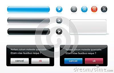 Icon glossy button set