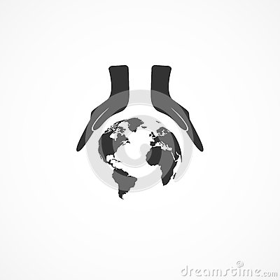 Icon hands and the earth. Stock Photo