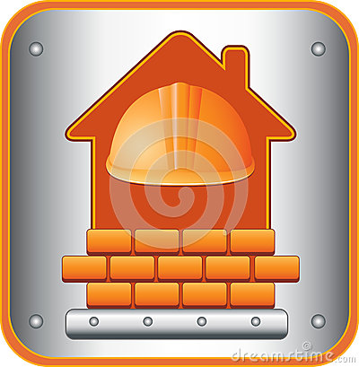 Icon with helmet, house and bricks