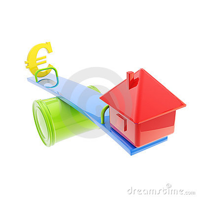 Icon-like house and euro sign on the teeter totter