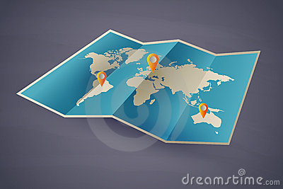 Icon  map of the world. eps10