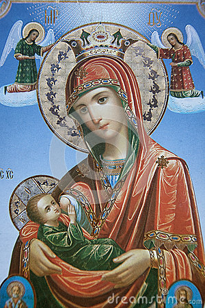 Icon of Mary and Jesus with angels