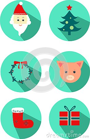New year icon: pig, christmas tree, Santa Claus, christmas socks, gift, wreath. Vector Illustration