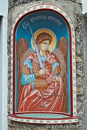 Free Icon Of An Angel With A Sword On Entrance Into Serbian Monastery Royalty Free Stock Image - 102182456