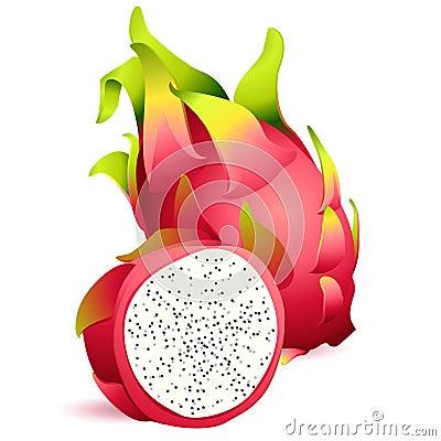 Free Icon Of Ripe Exotic Dragonfruit With Slice Stock Photo - 41584010