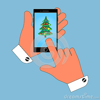 Icon phone in his hand on the screen Christmas tree, isolate on blue background. Stylish vector illustration Vector Illustration