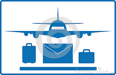 Plane, mail envelope and luggage bags