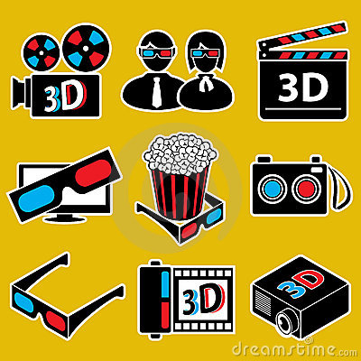 Icon set. 3d movie devices.