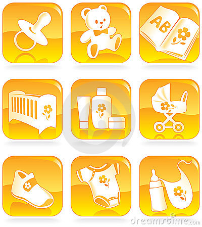 Icon set - baby goods, items