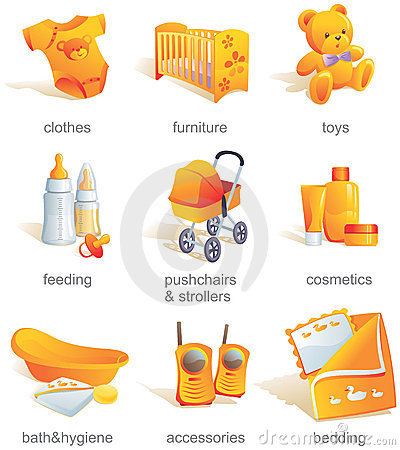 Icon set - baby goods, items.