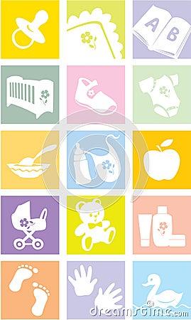 Icon set - baby goods, items