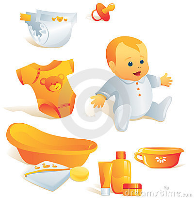 Icon set - baby hygiene. Illus