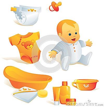 Free Icon Set - Baby Hygiene. Illus Royalty Free Stock Images - 5197539