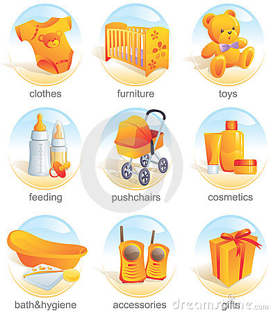 Icon set - baby items. Aqua