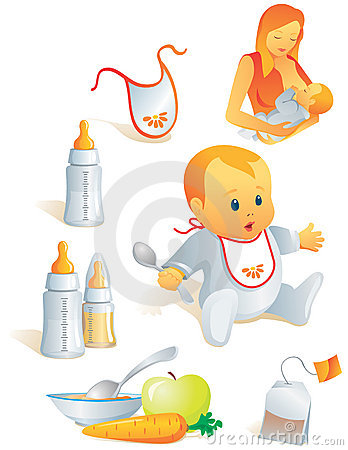 Icon set - baby nutrition. Vec