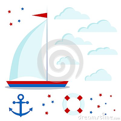 Icon set of blue and red sailboat with one sail, clouds, stars, anchor, lifebuoy Vector Illustration
