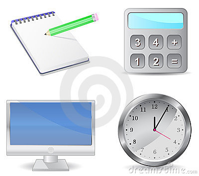 Icon set calculator monitor notepad clock