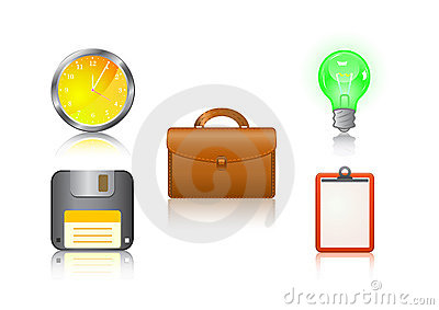 icon set - clock, suitcase, bulb, floppy, note