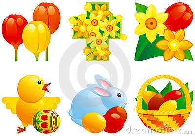 Icon set for easter