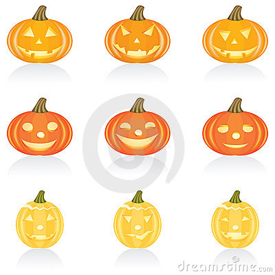 Icon set Halloween pumpkin
