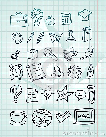 icon set - hand drawn school doodles