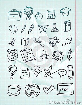icon set - hand drawn school doodles