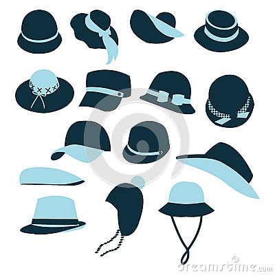 Icon Set  of Hats Black Silhouette-illustration