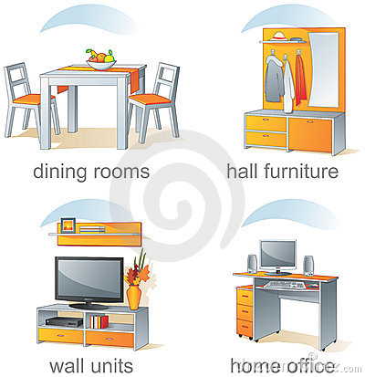 Icon Set Home Furniture Dining Rooms Hall Wall Units Home Office Aqua Style Vector Illustration