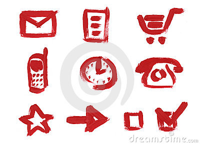 Icon set. Mail, Cart, Clock, Phone