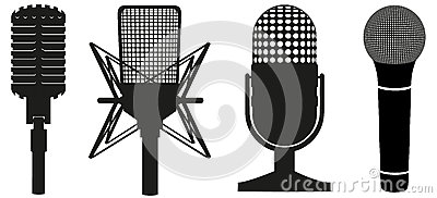 Icon set of microphones black silhouette