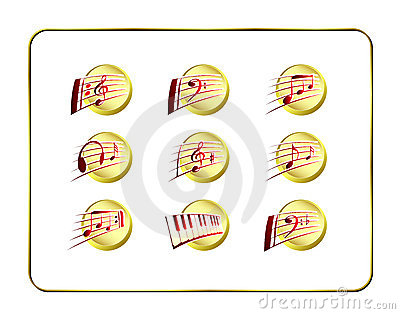 Icon Set, Music - Golden-Red