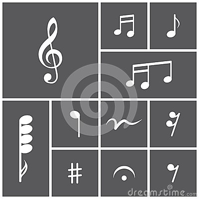 Icon set of musical notes Stock Photo