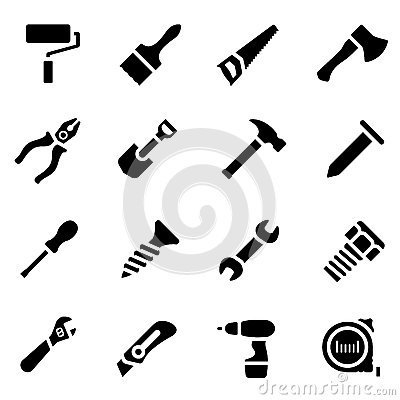 Free Icon Set Of Black Simple Silhouette Of Work Tools In Flat Design Royalty Free Stock Image - 70563696