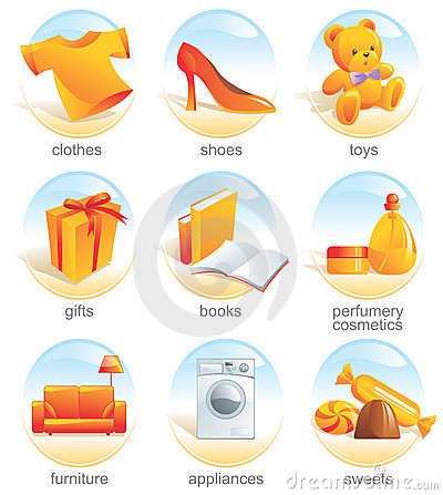 Free Icon Set - Shopping. Aqua Stock Images - 3432674