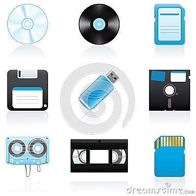 Free Icon Set Storage Media Royalty Free Stock Image - 6390486
