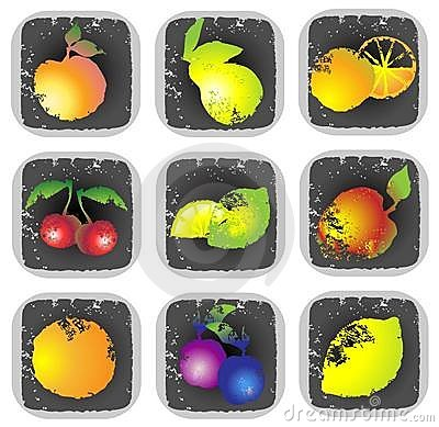 Icon set of various fruit and vegetables. Illustra