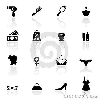 Icon set  women accessories and Fashion symbols