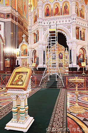 Icon and stairs for restoration inside Cathedral