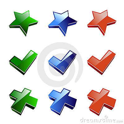 Icon star, cross, accept