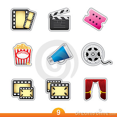 Icon sticker set - movie and film