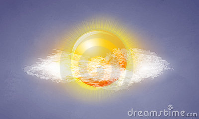 Icon sun with clouds