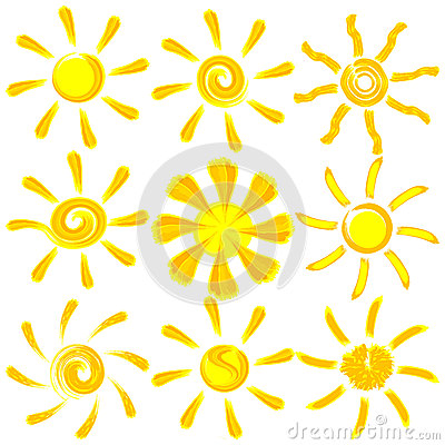 Icon vector brush paint sun set