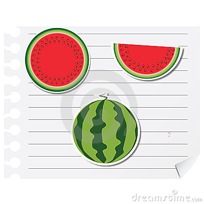 Icon watermelon on a blank notepad