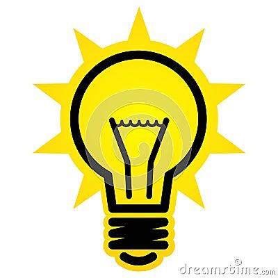 Segno brillante di vettore della lampadina isolato su priorit? bassa ...
