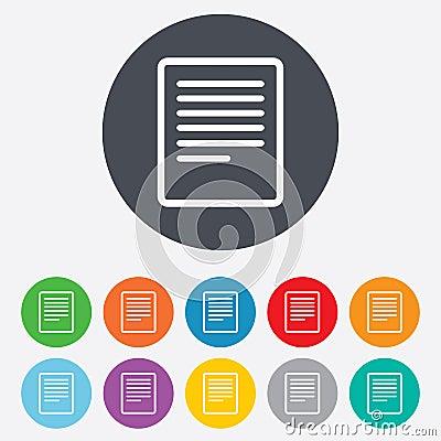 Icona del segno del file di testo. Simbolo del documento dell archivio.