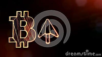 Icona di Bitcoin e l'icona alta della freccia Fondo finanziario fatto delle particelle di incandescenza come ologramma vitrtual C royalty illustrazione gratis