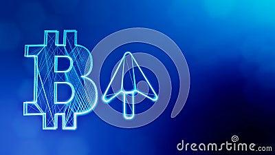 Icona di Bitcoin e l'icona alta della freccia Fondo finanziario fatto delle particelle di incandescenza come ologramma vitrtual C illustrazione vettoriale