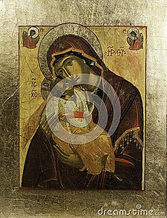 Icona di Eleousa del Greco nel telaio dorato
