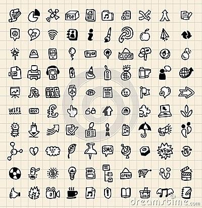 Icona di Web di tiraggio delle 100 mani