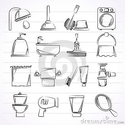 stanza da bagno ed oggetti ed icone della toletta fotografia stock immagine 22129440